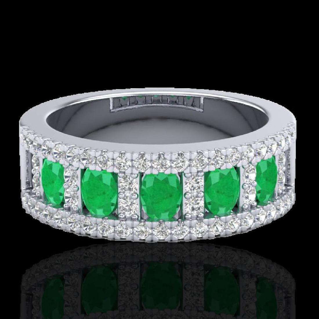 2.34 CTW Emerald & Micro Pave VS/SI Diamond Designer