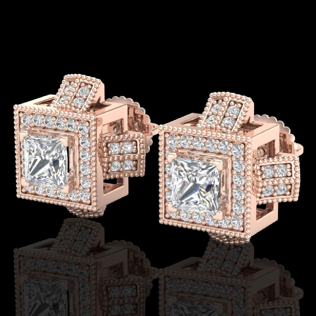 1.73 CTW Princess VS/SI Diamond Micro Pave Stud