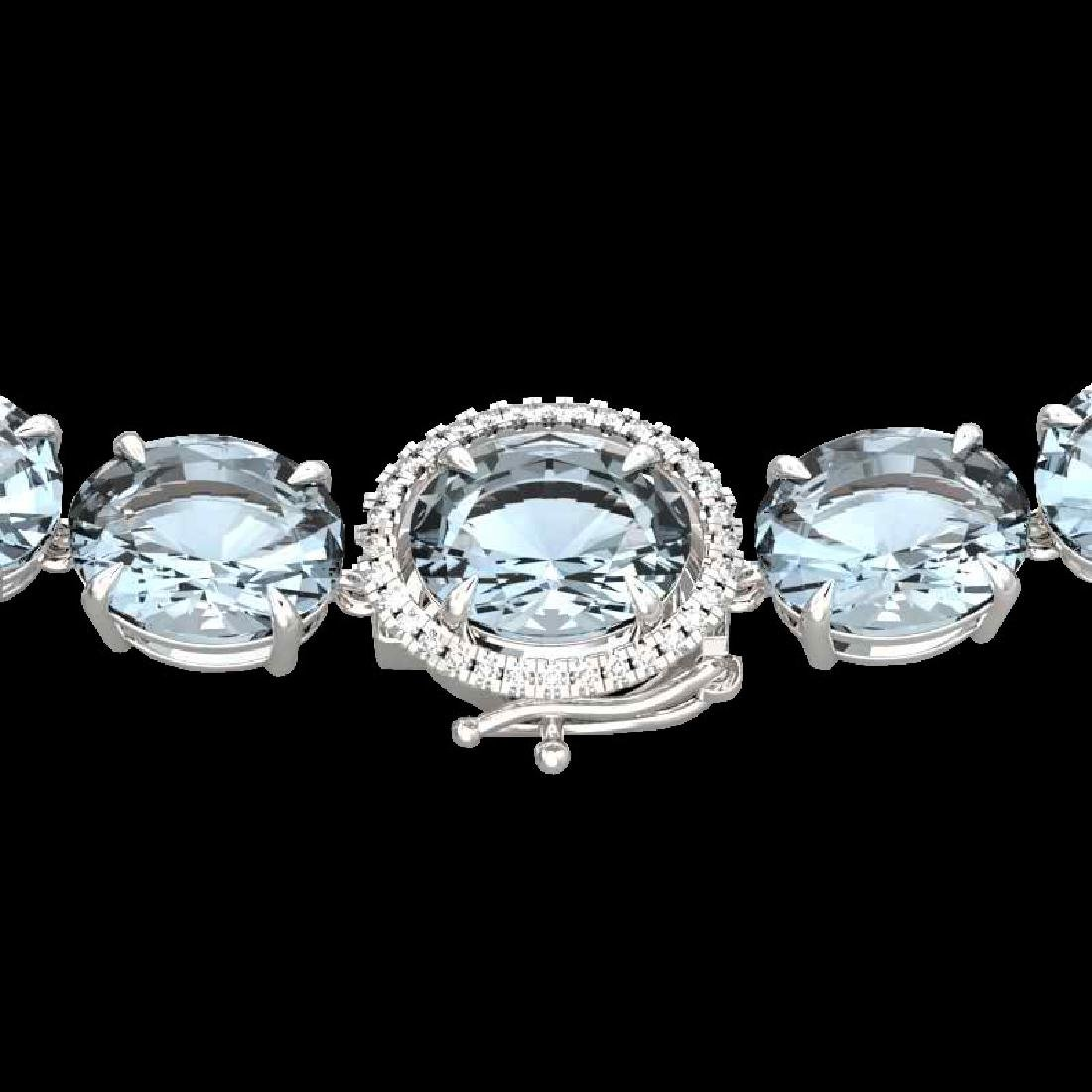 136 CTW Aquamarine & VS/SI Diamond Halo Micro Eternity