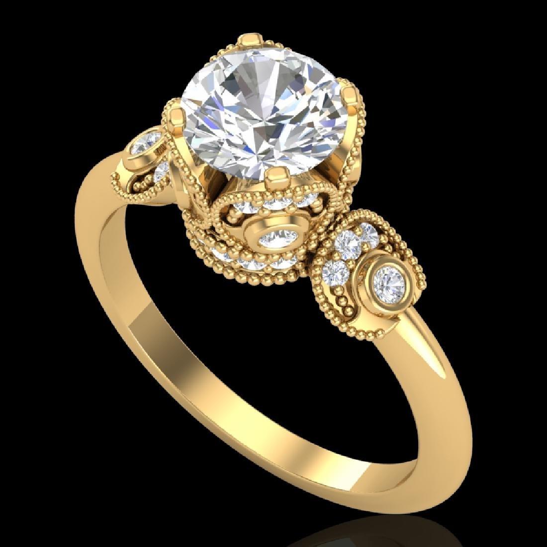 1.75 CTW VS/SI Diamond Art Deco Ring 18K Yellow Gold