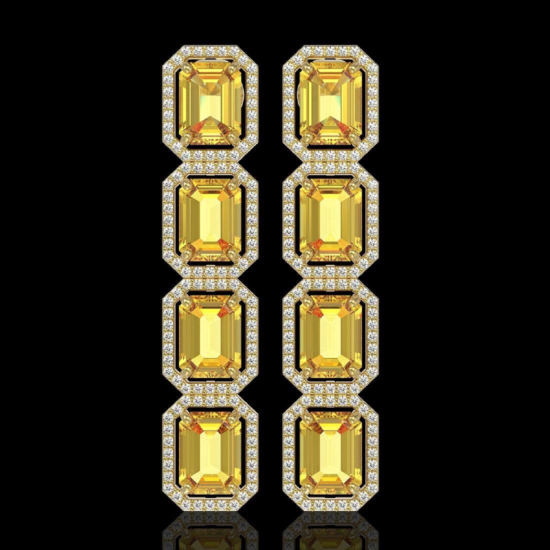 18.64 CTW Fancy Citrine & Diamond Halo Earrings 10K