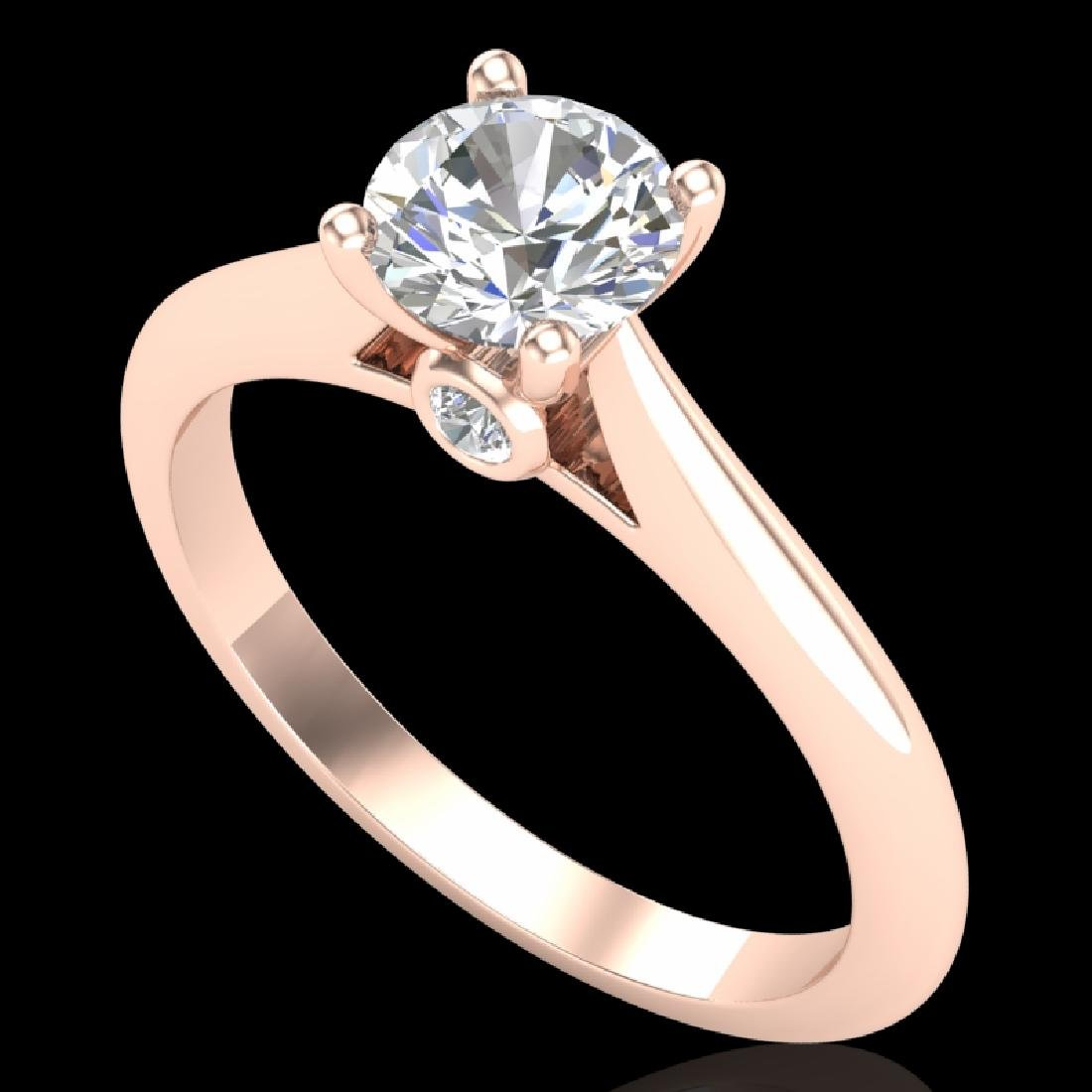 0.83 CTW VS/SI Diamond Solitaire Art Deco Ring 18K Rose