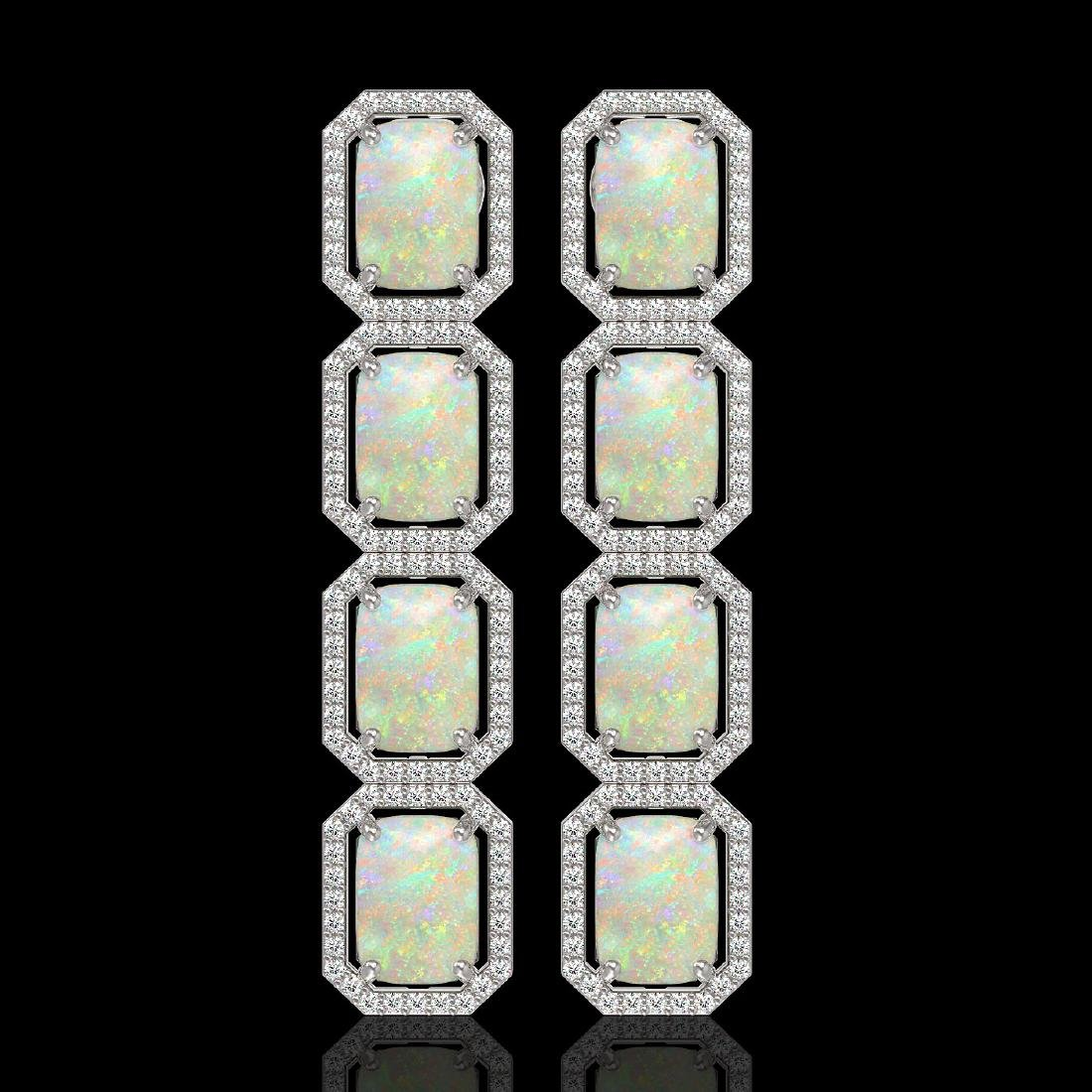 12.99 CTW Opal & Diamond Halo Earrings 10K White Gold
