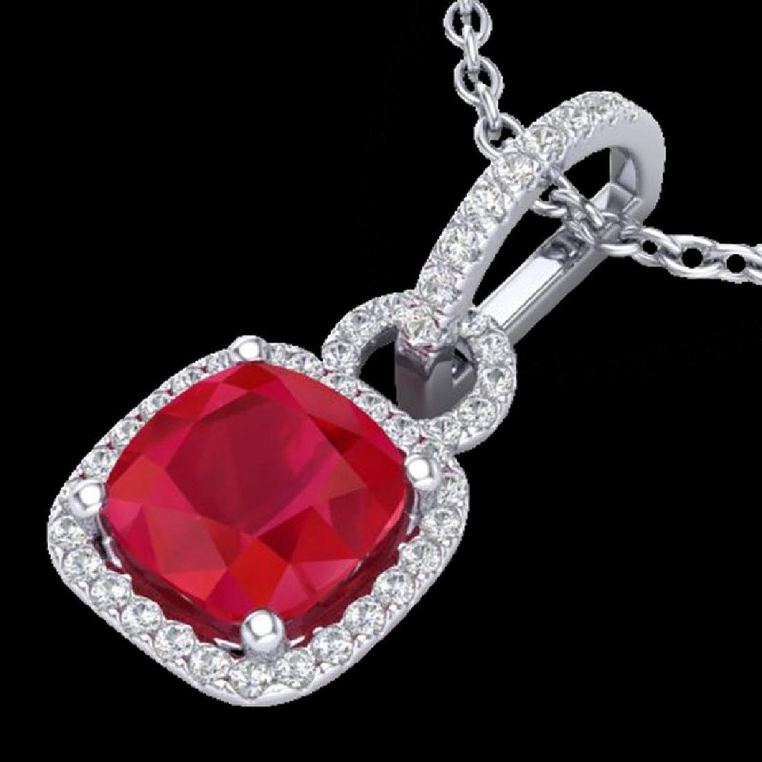 3 CTW Ruby & Micro VS/SI Diamond Necklace 18K White