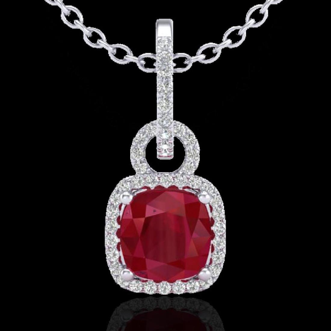 3 CTW Ruby & Micro VS/SI Diamond Necklace 18K White - 2