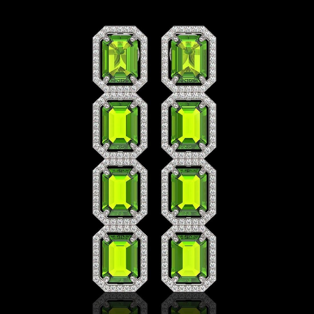 17.81 CTW Peridot & Diamond Halo Earrings 10K White