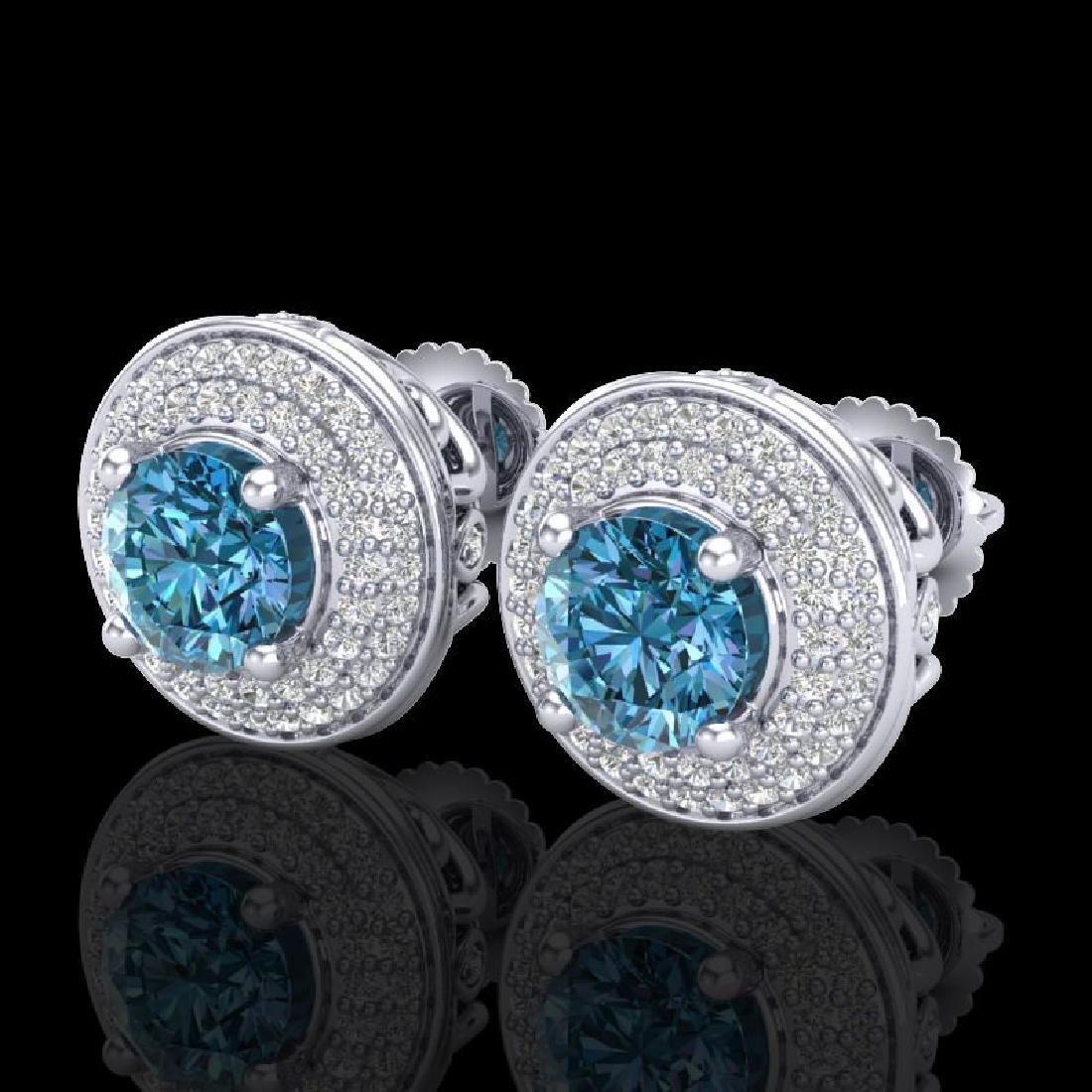 2.35 CTW Fancy Intense Blue Diamond Art Deco Stud