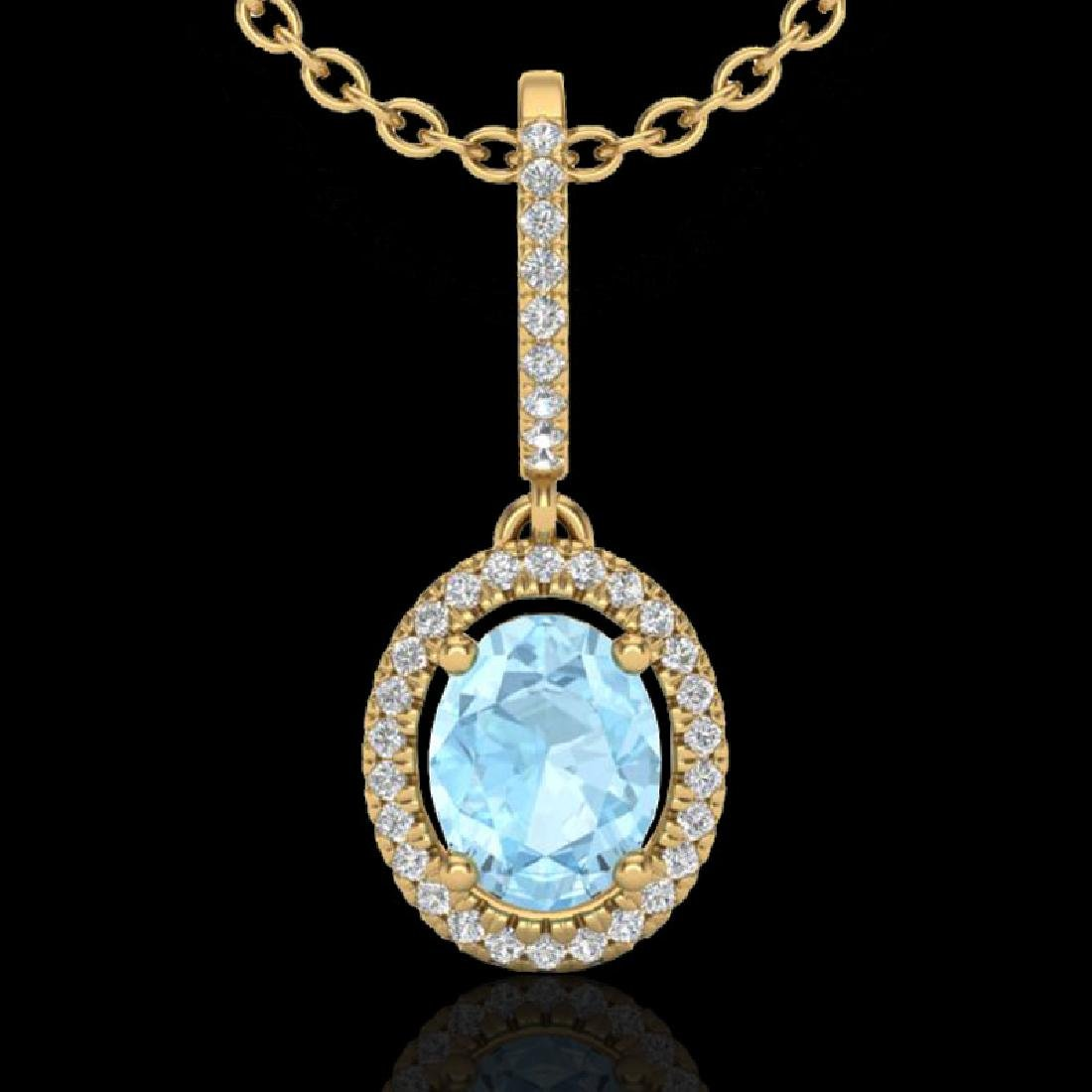 1.75 CTW Aquamarine & Micro VS/SI Diamond Necklace Halo