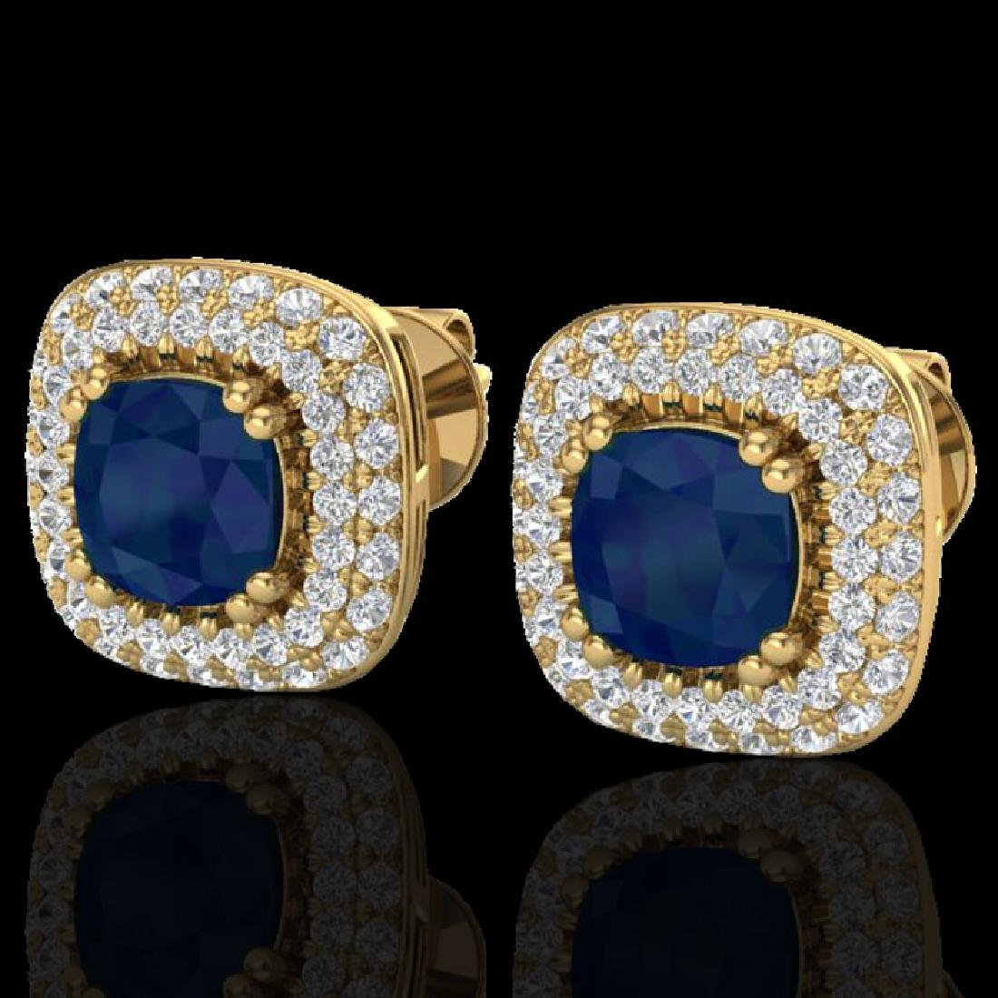 2.16 CTW Sapphire & Micro VS/SI Diamond Earrings Double