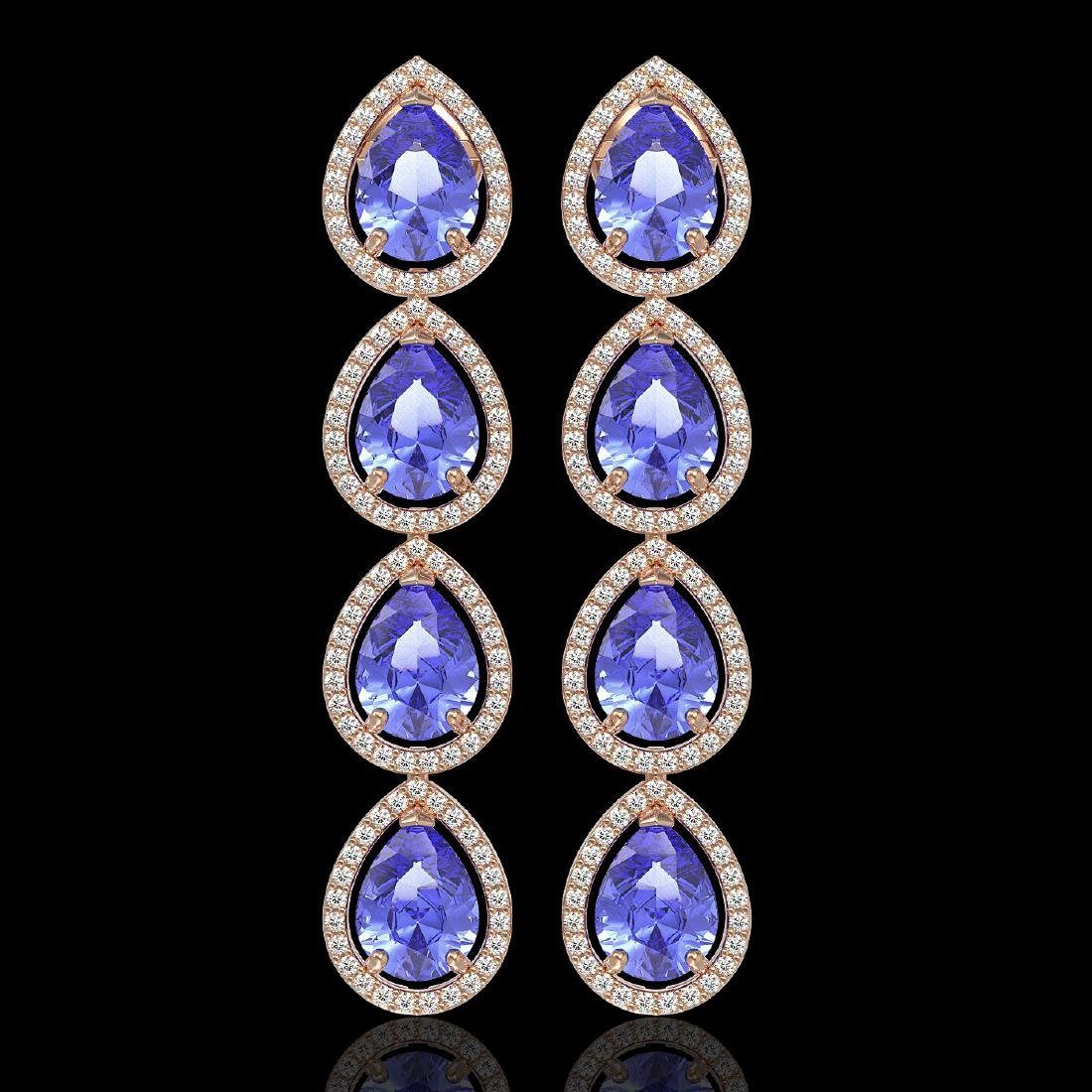 11.2 CTW Tanzanite & Diamond Halo Earrings 10K Rose