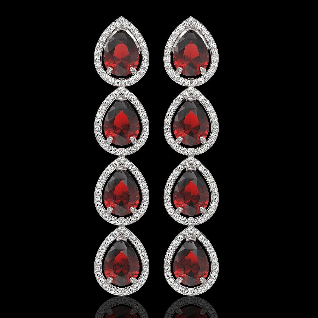 9.25 CTW Garnet & Diamond Halo Earrings 10K White Gold