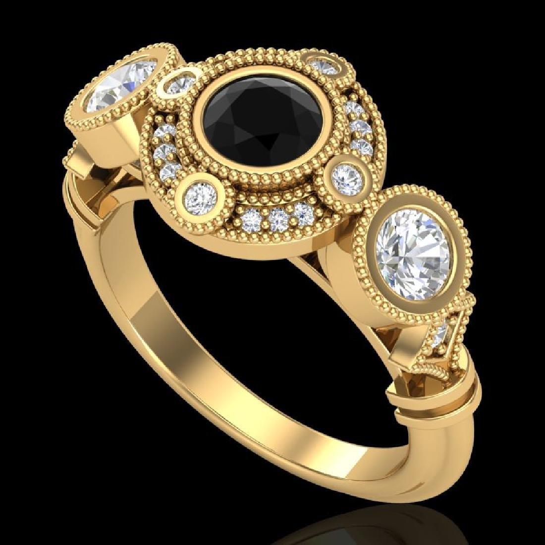 1.51 CTW Fancy Black Diamond Solitaire Art Deco 3 Stone