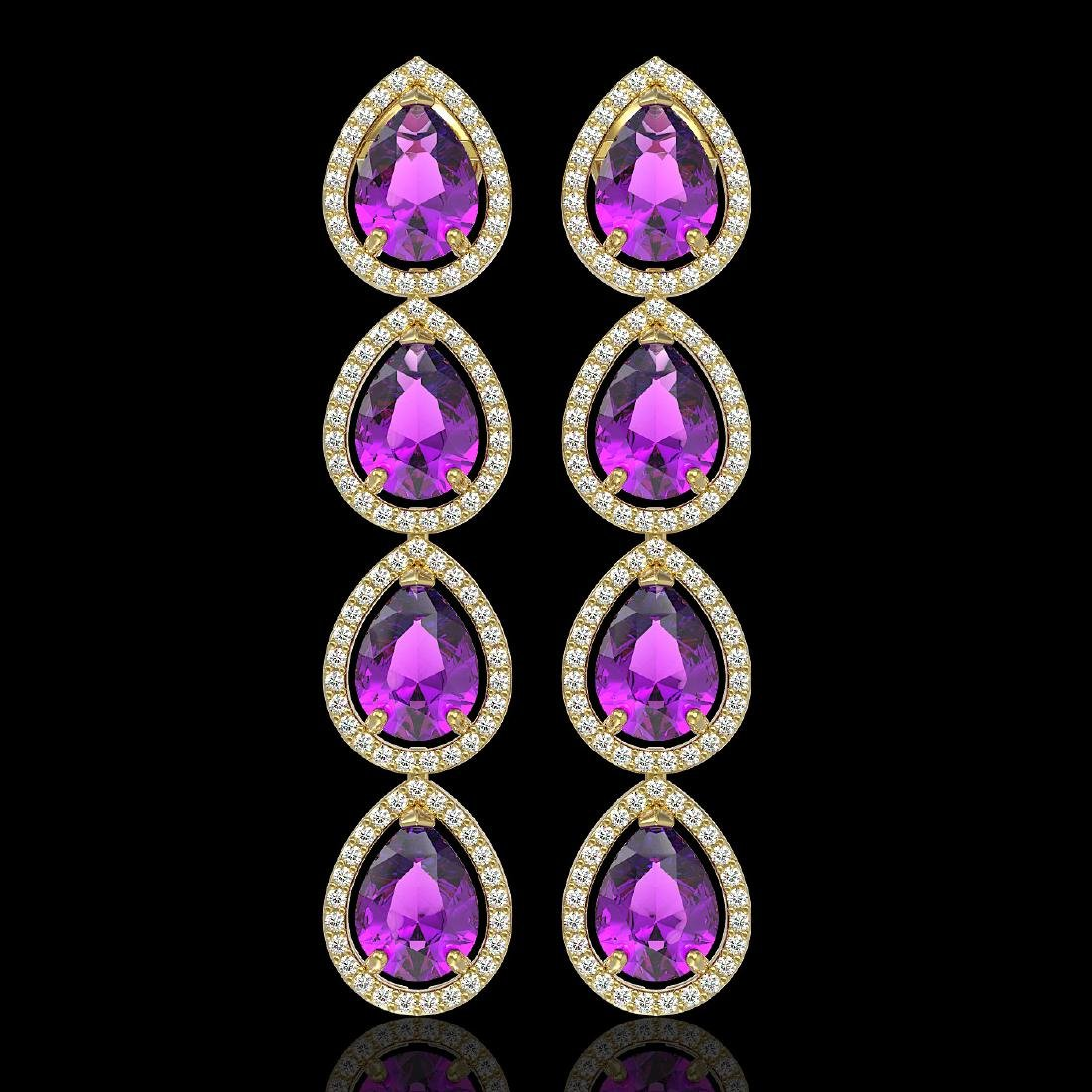 10.85 CTW Amethyst & Diamond Halo Earrings 10K Yellow