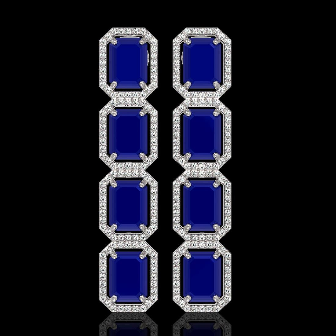 20.59 CTW Sapphire & Diamond Halo Earrings 10K White