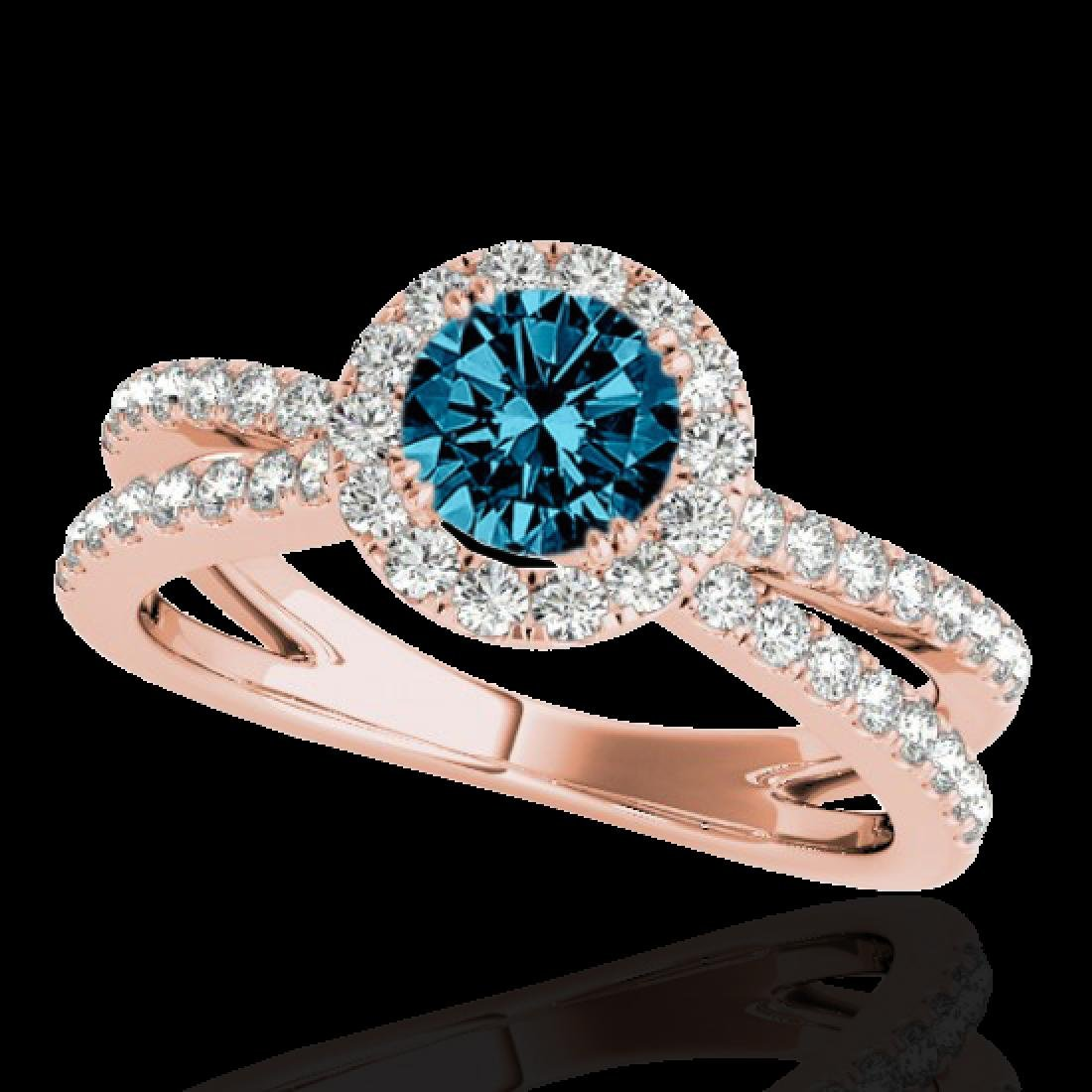 1.55 CTW SI Certified Fancy Blue Diamond Solitaire Halo