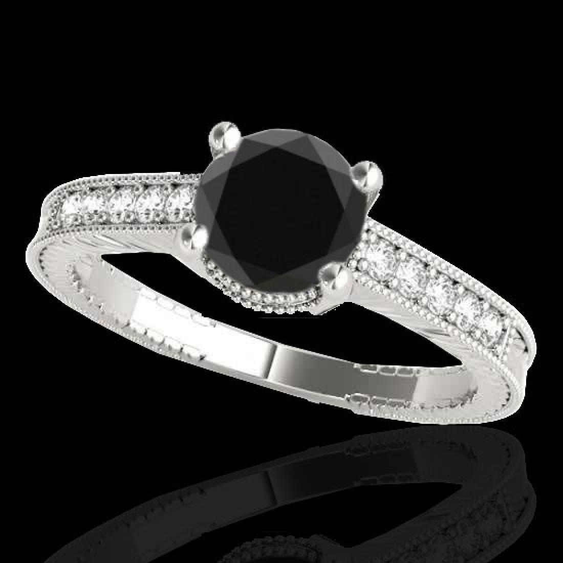 1.45 CTW Certified VS Black Diamond Solitaire Antique