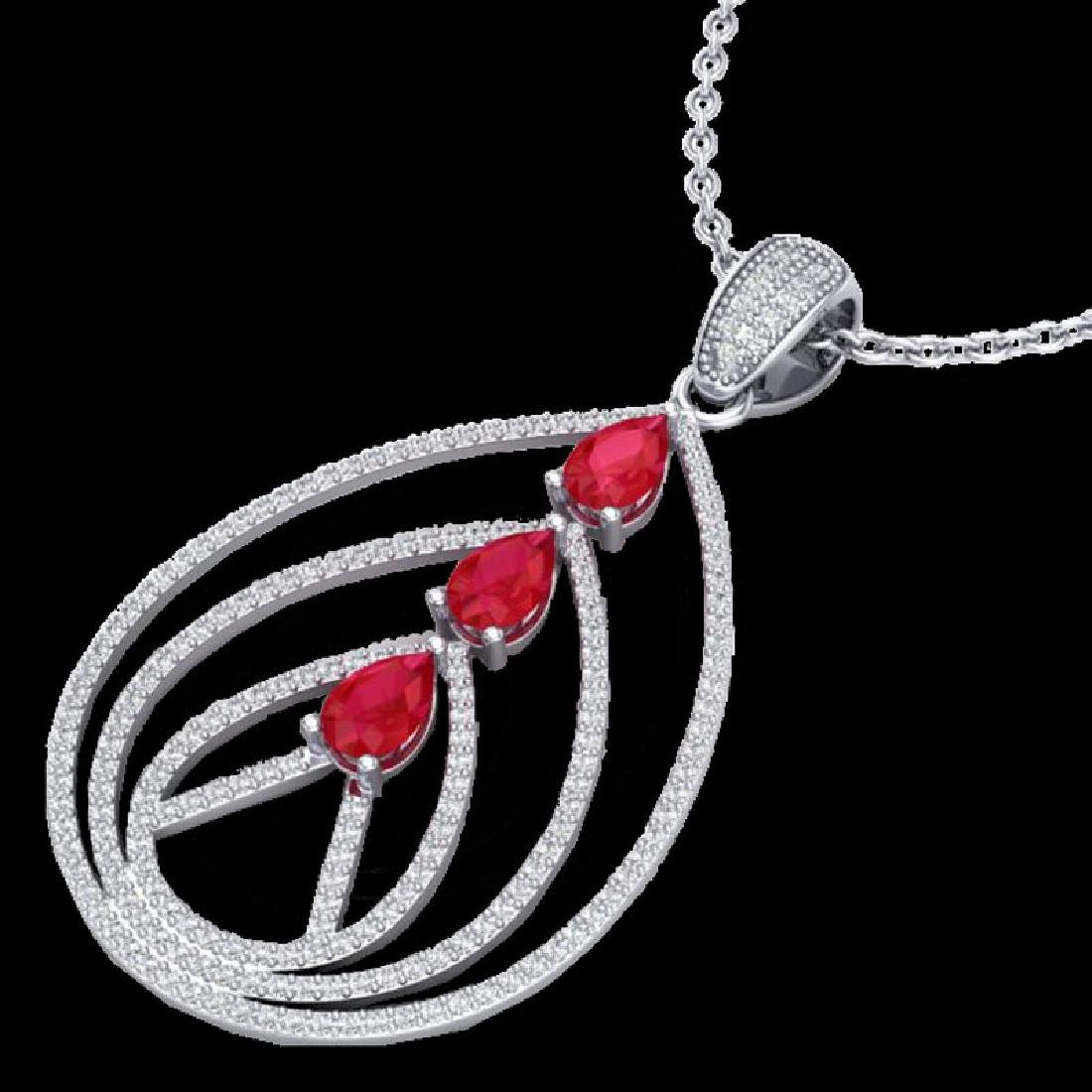 2 CTW Ruby & Micro Pave VS/SI Diamond Designer Necklace