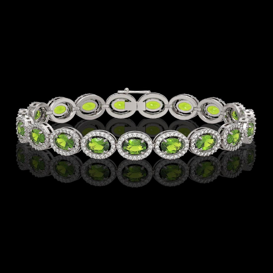 13.87 CTW Peridot & Diamond Halo Bracelet 10K White