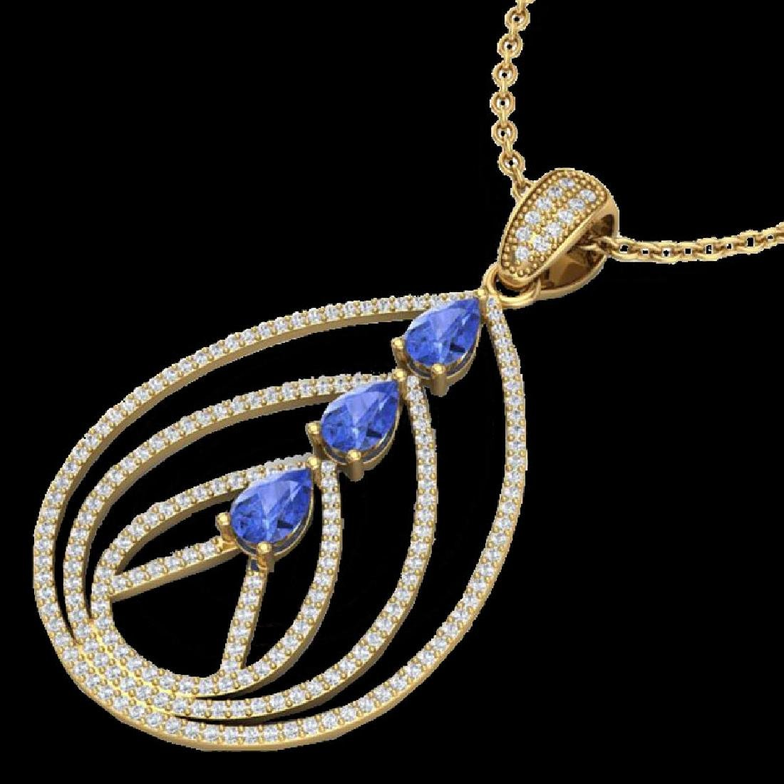 2 CTW Tanzanite & Micro VS/SI Diamond Designer Necklace