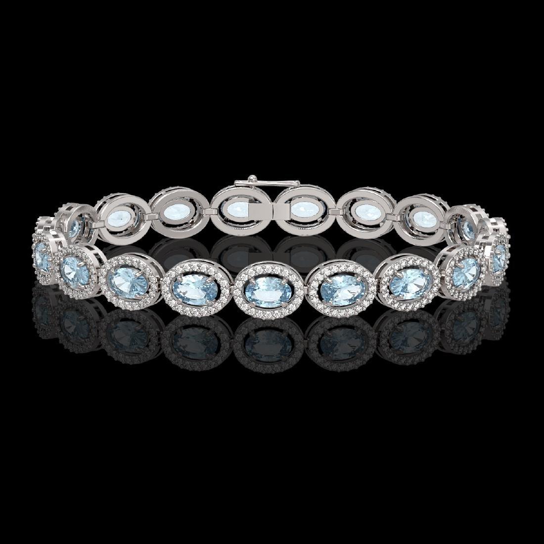 11.02 CTW Aquamarine & Diamond Halo Bracelet 10K White