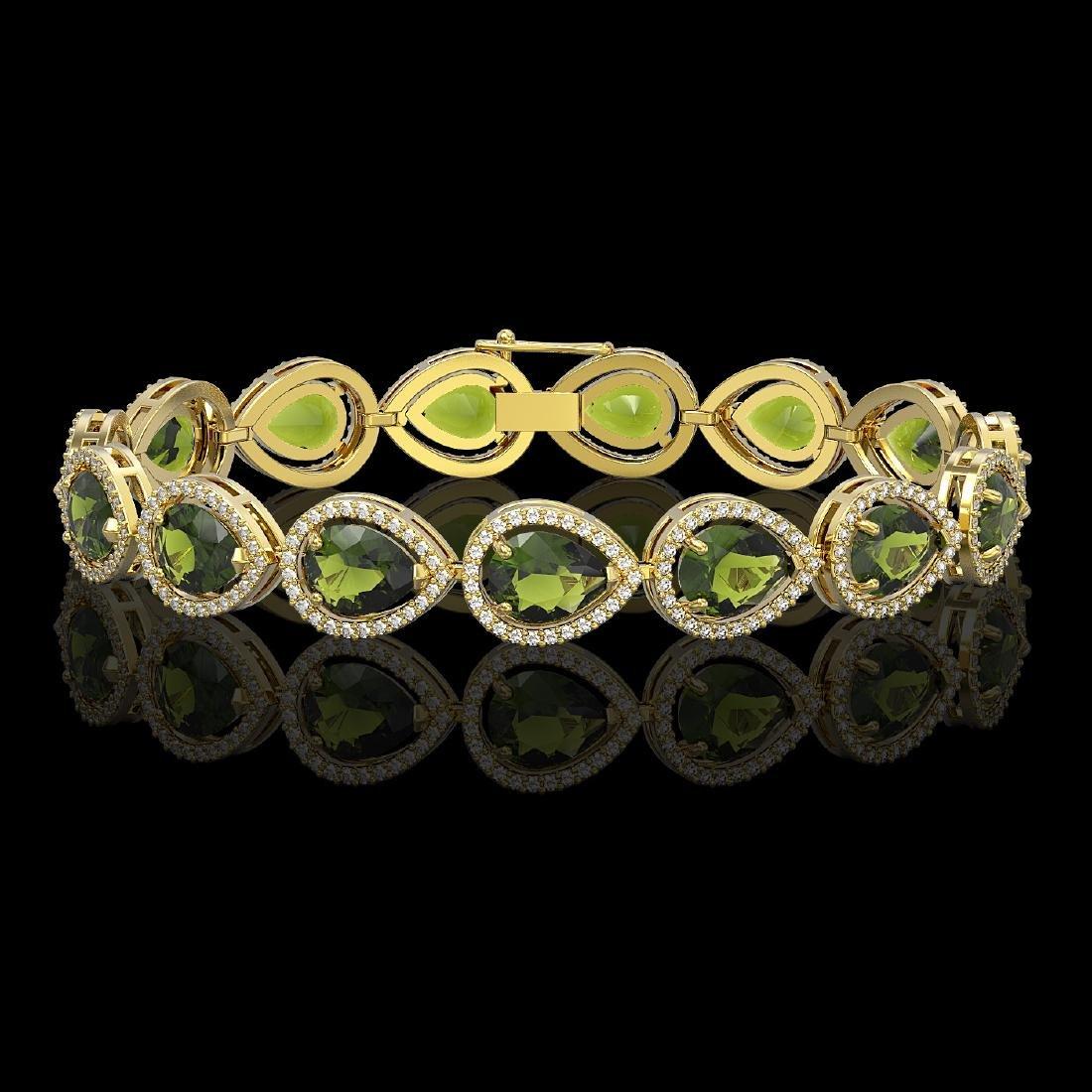 19.7 CTW Tourmaline & Diamond Halo Bracelet 10K Yellow