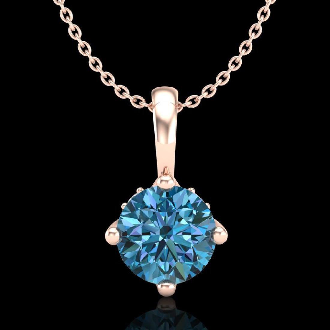 0.82 CTW Fancy Intense Blue Diamond Solitaire Art Deco