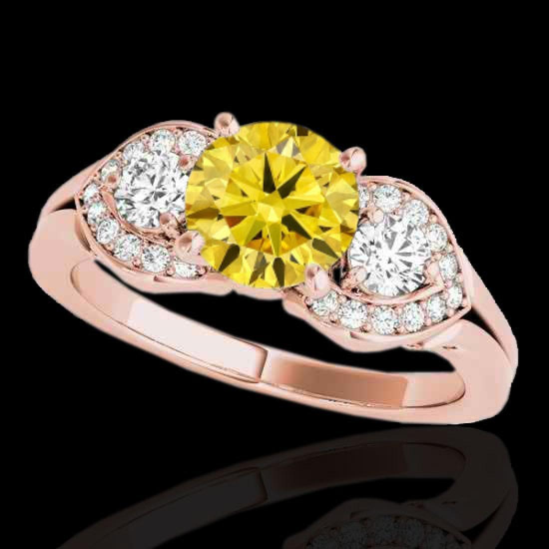 1.7 CTW Certified Si Intense Yellow Diamond 3 Stone