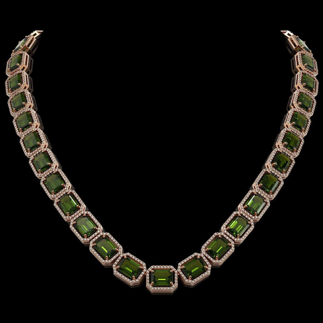 80.65 CTW Tourmaline & Diamond Halo Necklace 10K Rose