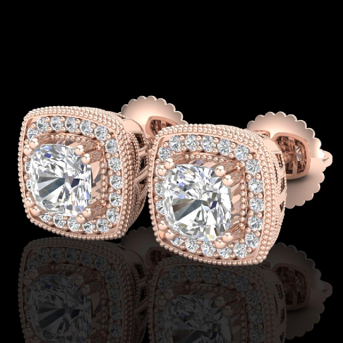 1.25 CTW Cushion Cut VS/SI Diamond Art Deco Stud