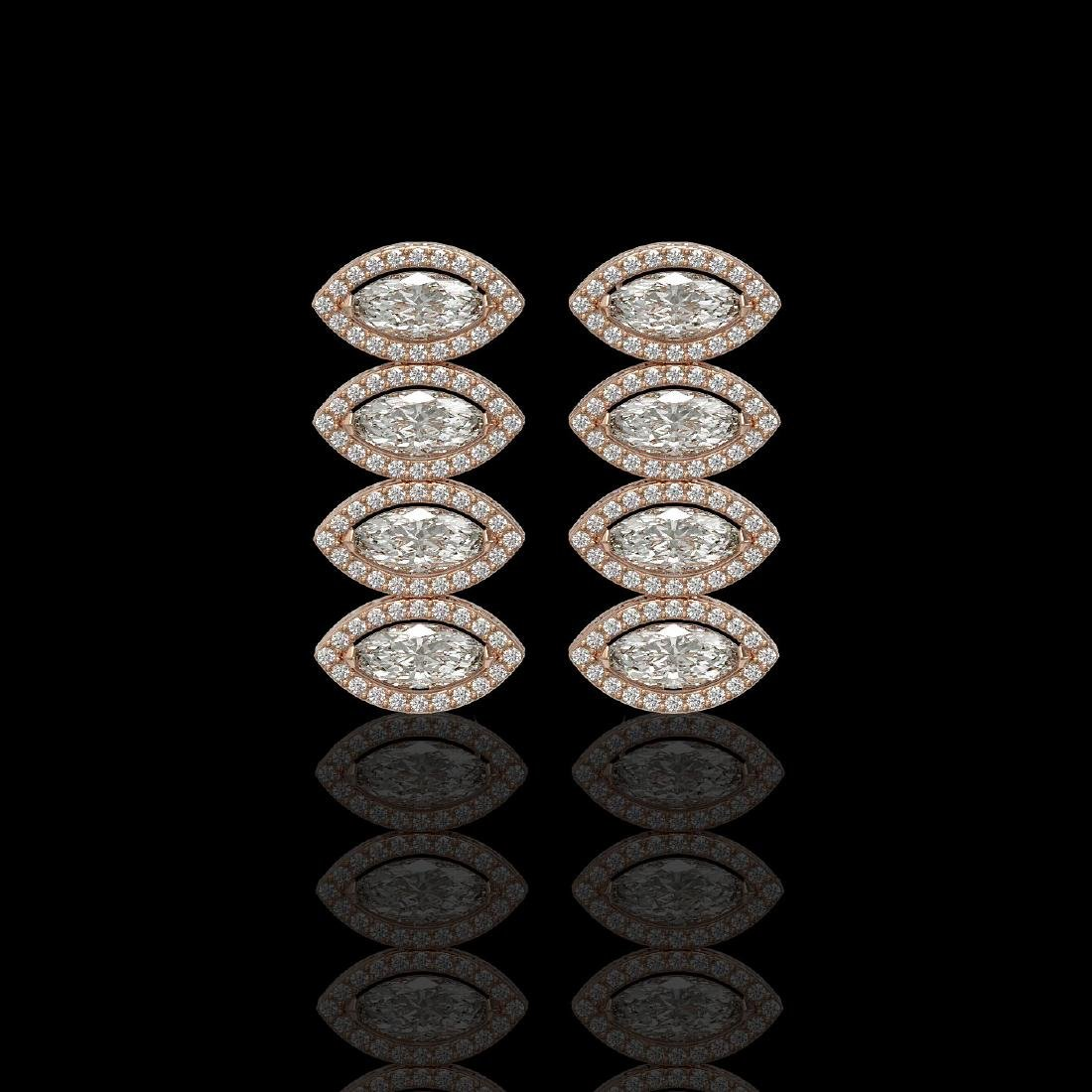 5.33 CTW Marquise Diamond Designer Earrings 18K Rose