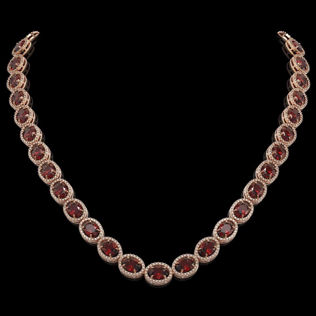 50.08 CTW Garnet & Diamond Halo Necklace 10K Rose Gold