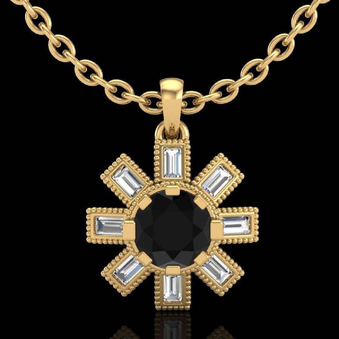 1.33 CTW Fancy Black Diamond Solitaire Art Deco Stud