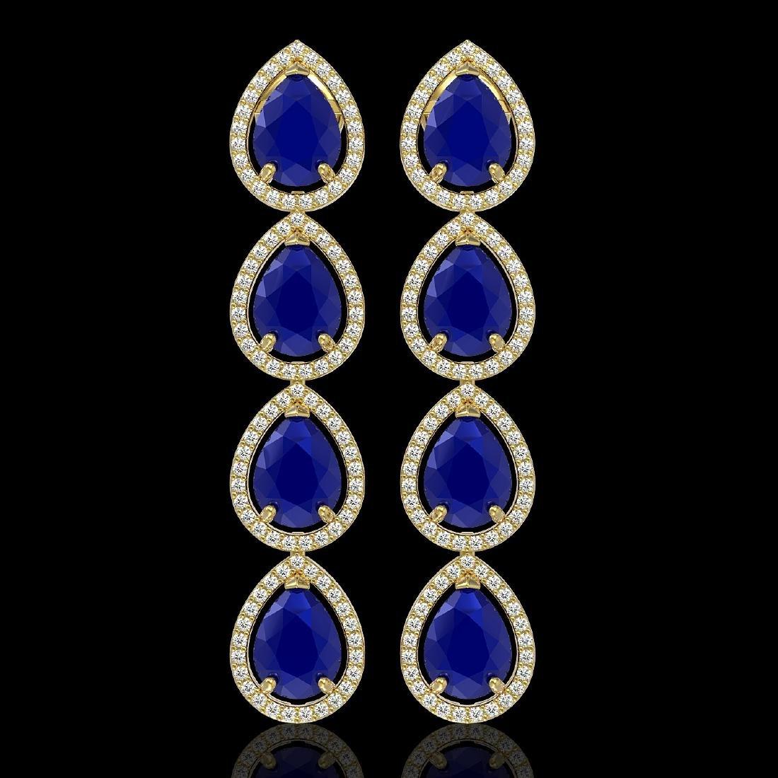 16.01 CTW Sapphire & Diamond Halo Earrings 10K Yellow