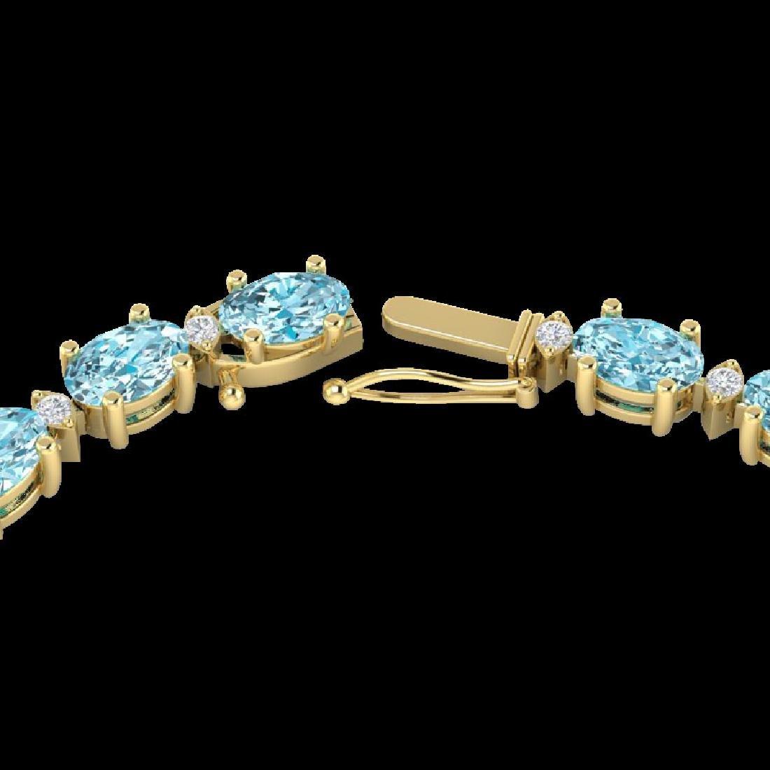 34 CTW Sky Blue Topaz & VS/SI Diamond Tennis Necklace