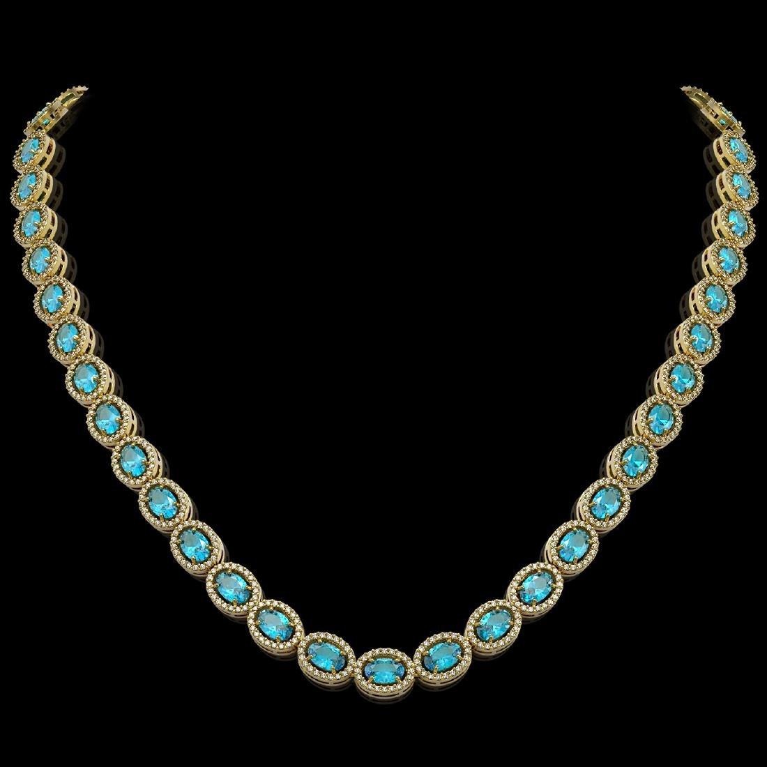 33.25 CTW Swiss Topaz & Diamond Halo Necklace 10K