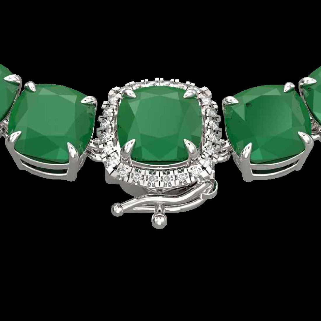 116 CTW Emerald & VS/SI Diamond Halo Micro Pave
