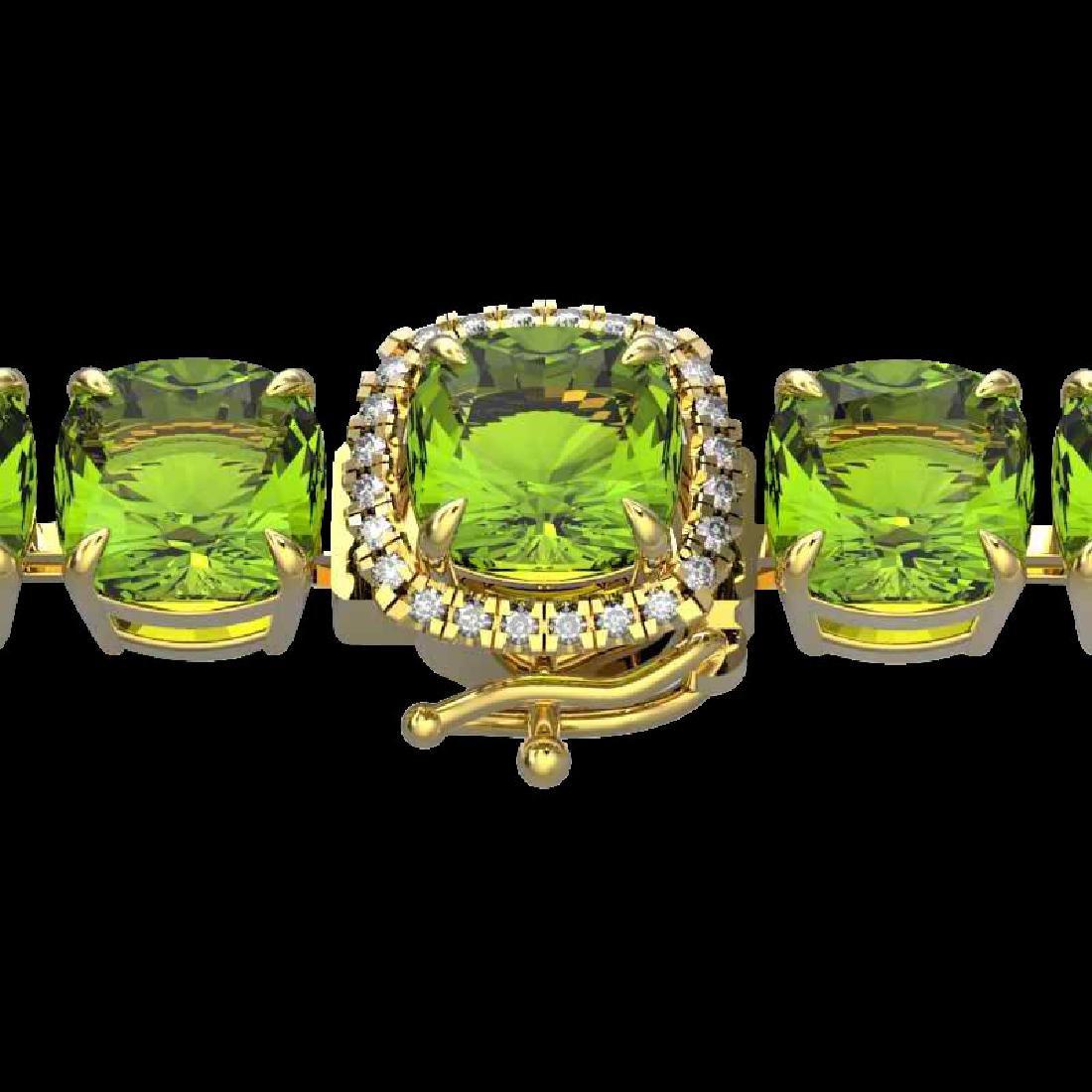 40 CTW Peridot & Micro Pave VS/SI Diamond Halo Bracelet