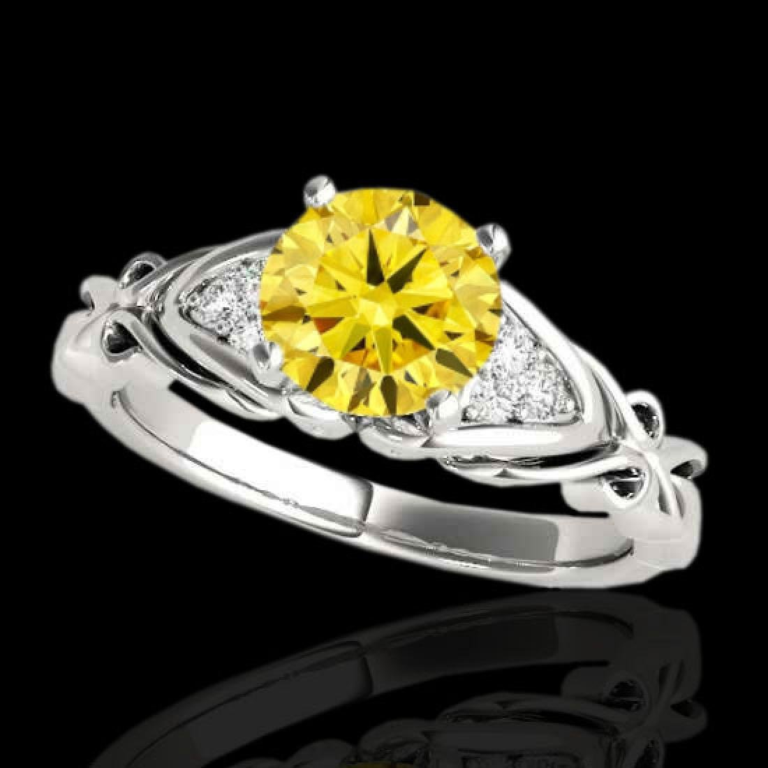 1.1 CTW Certified Si Fancy Yellow Diamond Solitaire