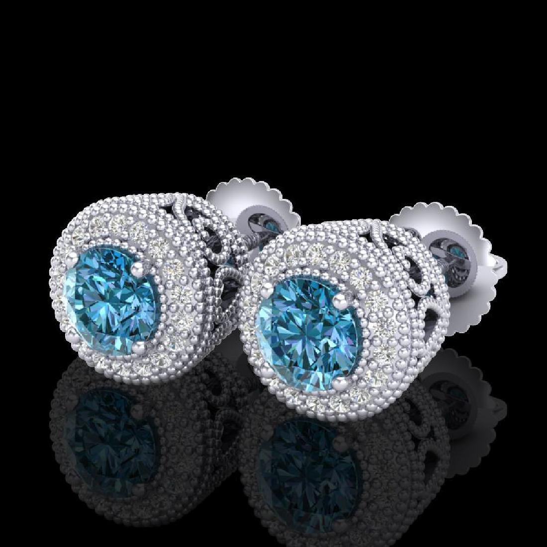 1.55 CTW Fancy Intense Blue Diamond Art Deco Stud
