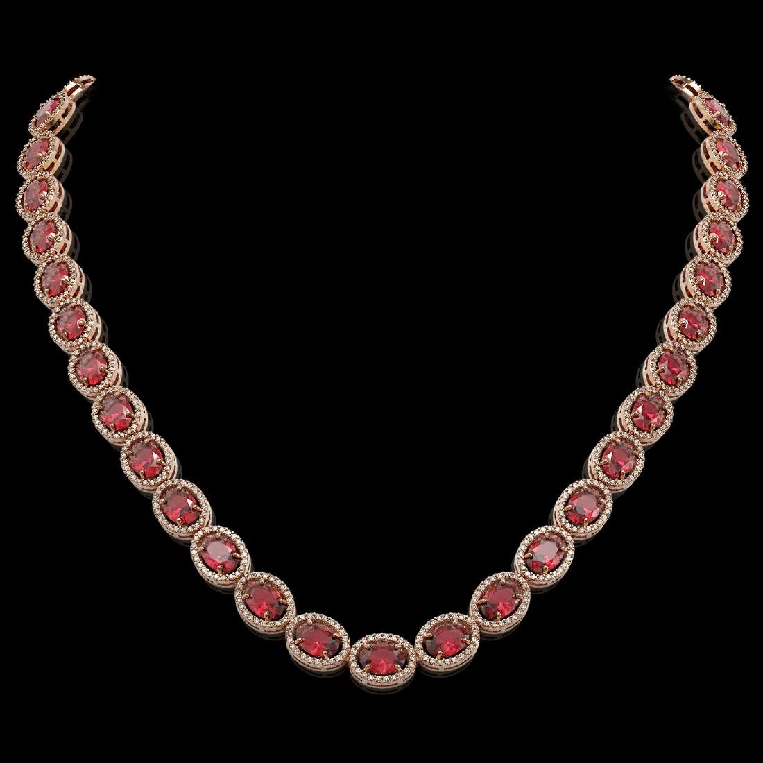 49.46 CTW Tourmaline & Diamond Halo Necklace 10K Rose