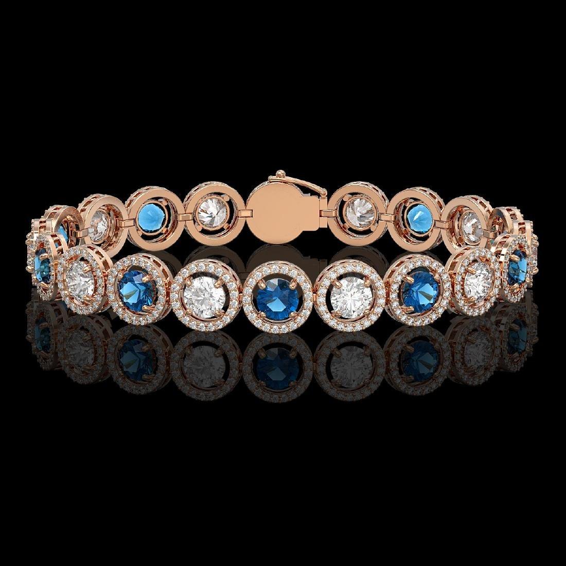 13.56 CTW Blue & White Diamond Designer Bracelet 18K