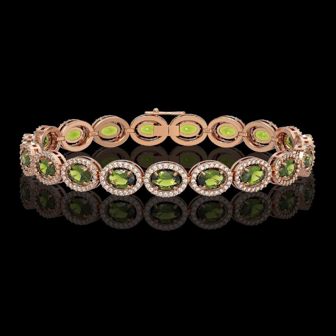13.87 CTW Tourmaline & Diamond Halo Bracelet 10K Rose