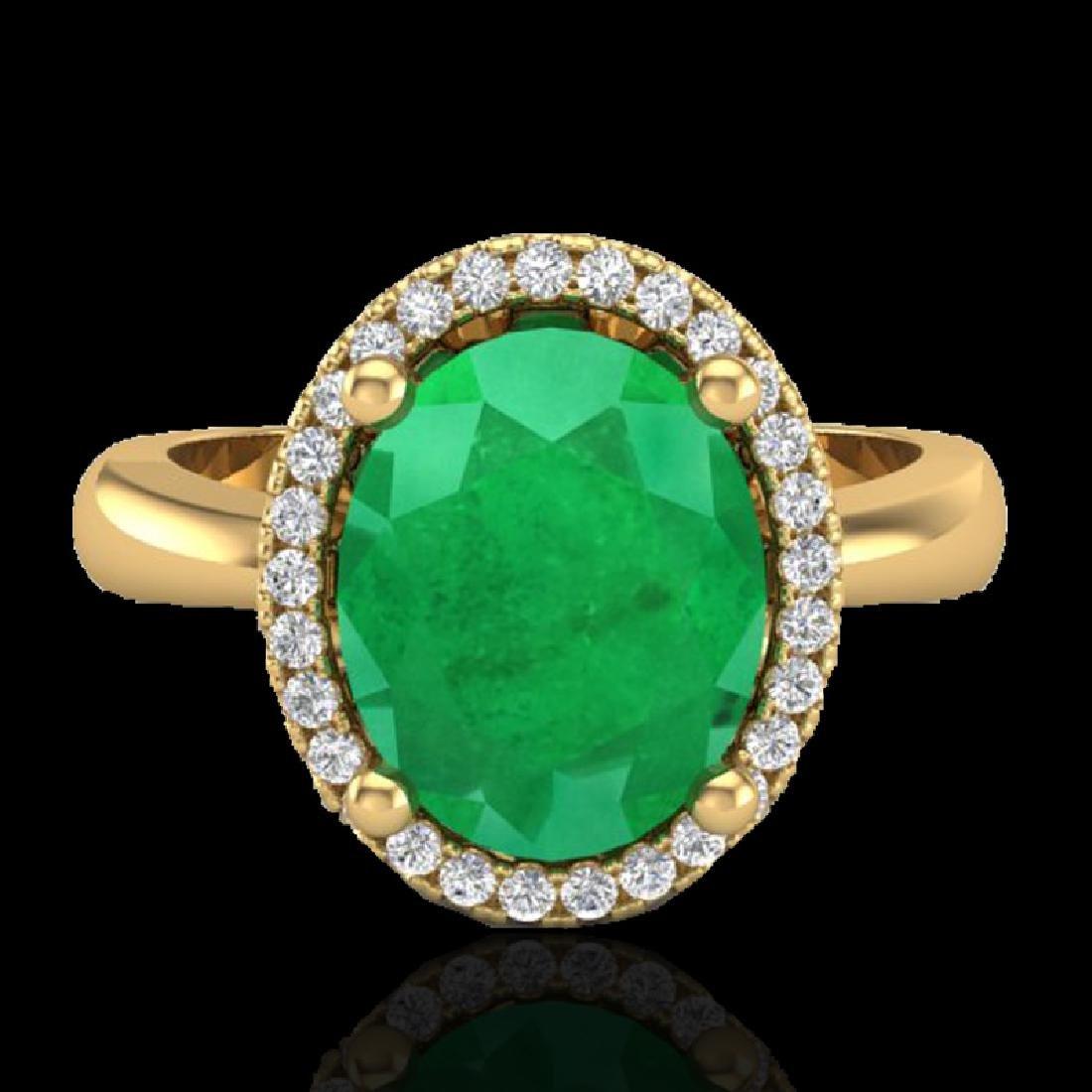 3 CTW Emerald & Micro Pave VS/SI Diamond Ring Halo 18K
