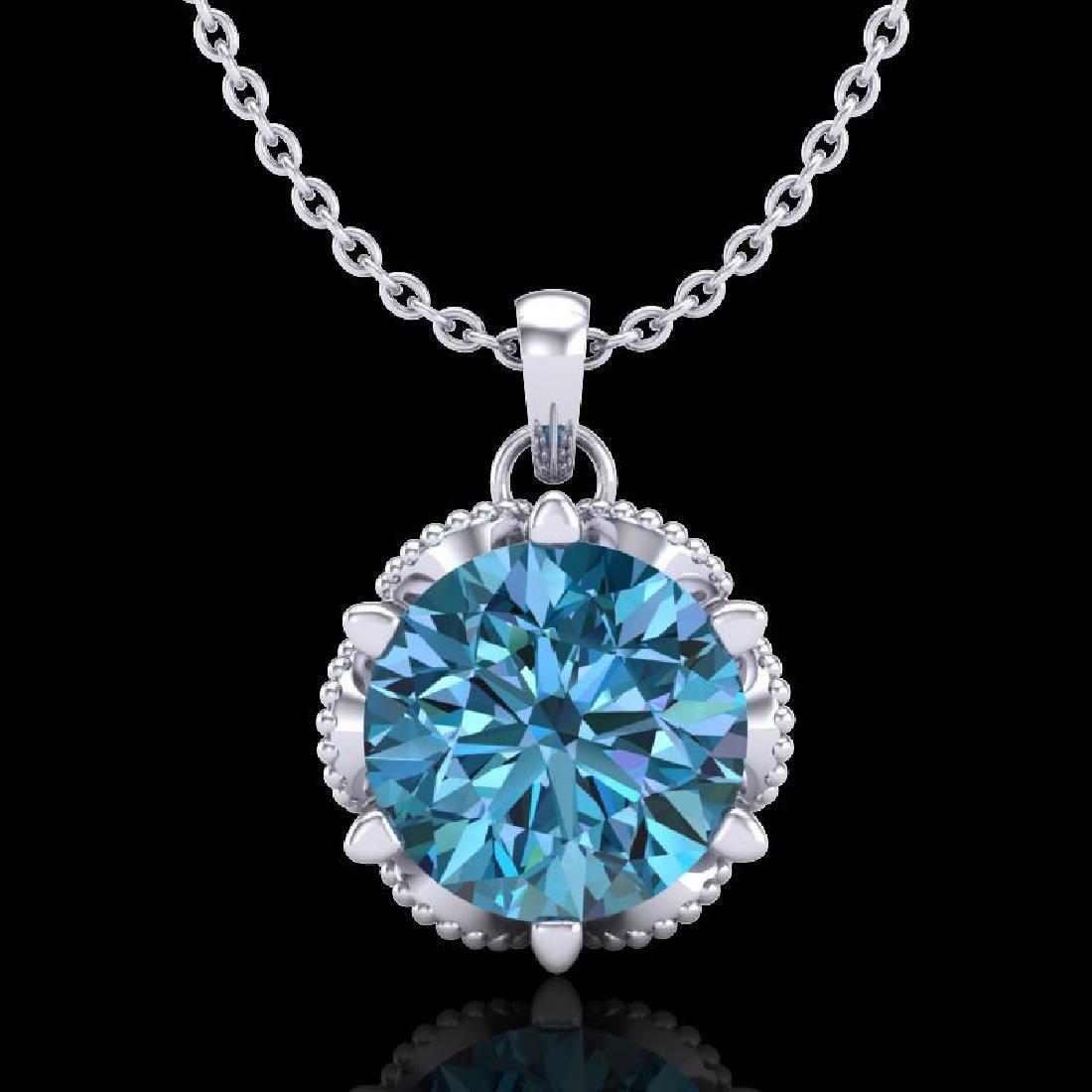 1.36 CTW Fancy Intense Blue Diamond Solitaire Art Deco