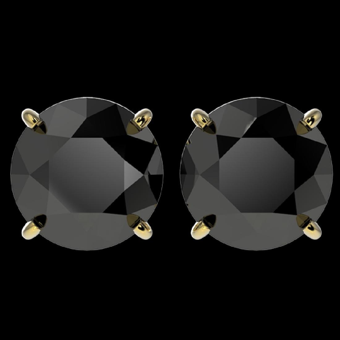 4.19 CTW Fancy Black VS Diamond Solitaire Stud Earrings
