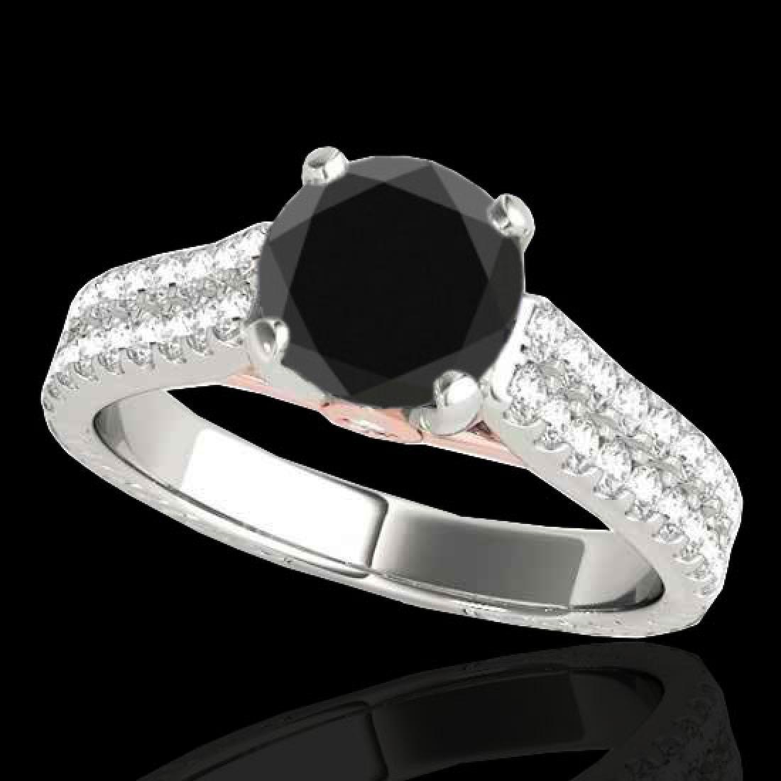 1.61 CTW Certified VS Black Diamond Pave Ring 10K White