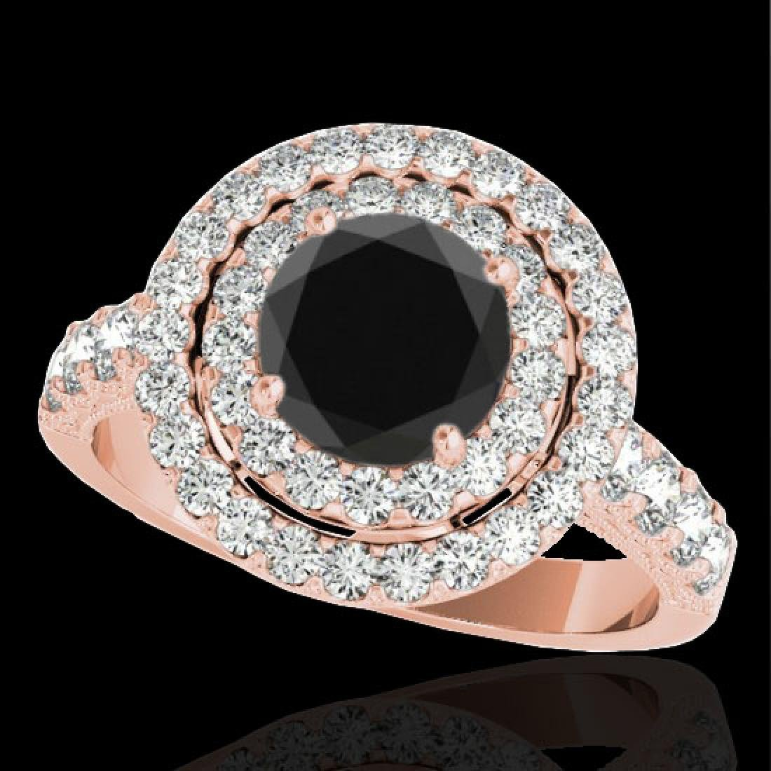 2.25 CTW Certified VS Black Diamond Solitaire Halo Ring
