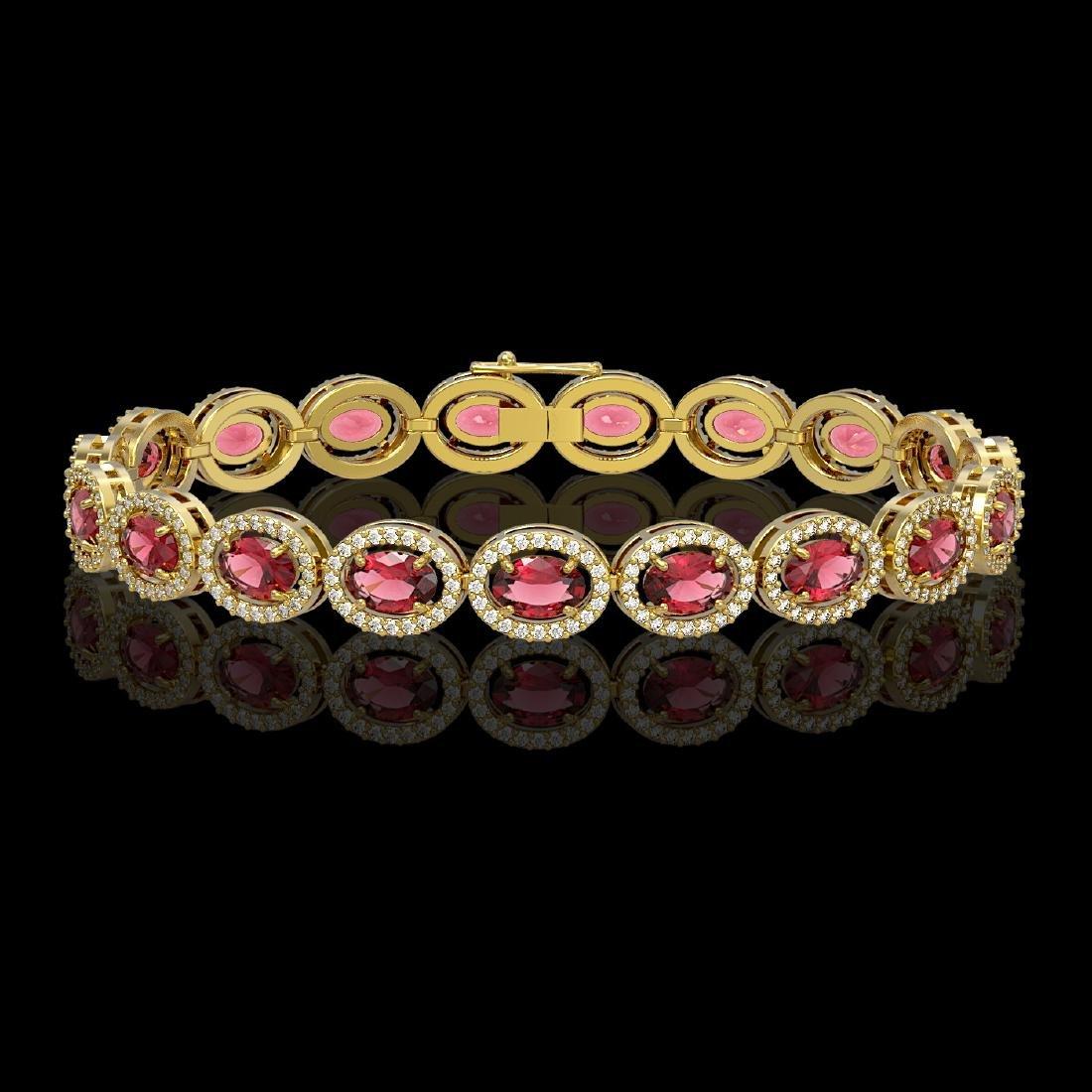 13.87 CTW Tourmaline & Diamond Halo Bracelet 10K Yellow