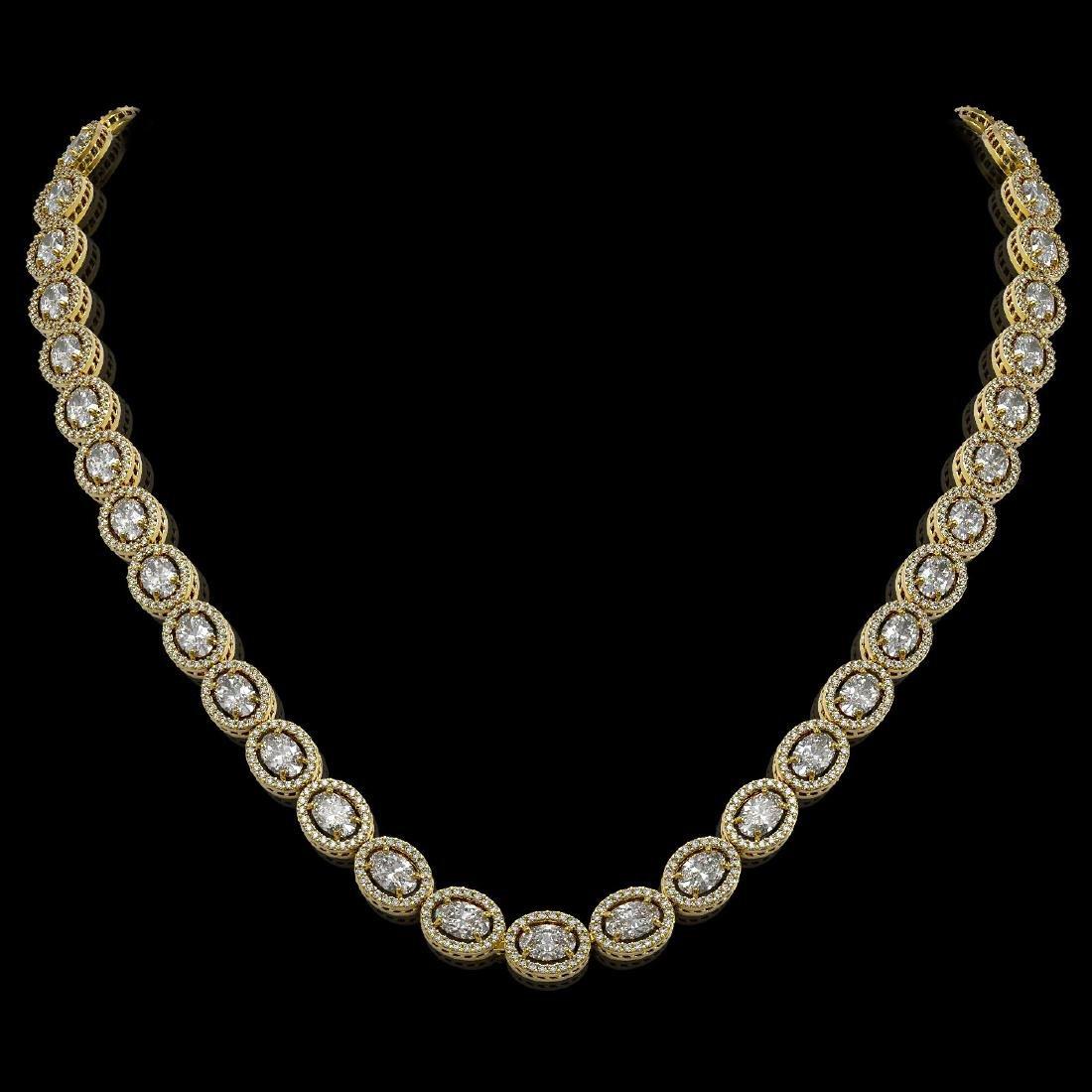 30.41 CTW Oval Diamond Designer Necklace 18K Yellow