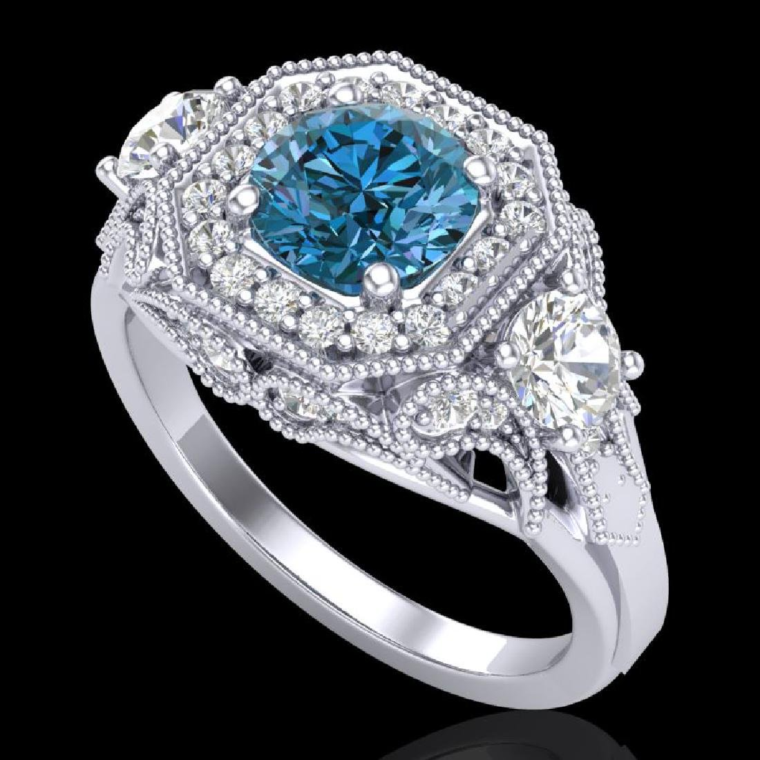2.11 CTW Intense Blue Diamond Solitaire Art Deco 3